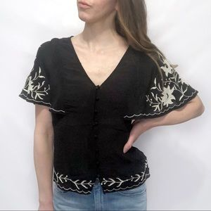 Lucky Brand Black Embroidered Flutter Sleeve Top